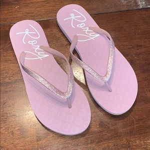 Roxy Shoes - Roxy Rose Pink Glitter Thong Flip Flops